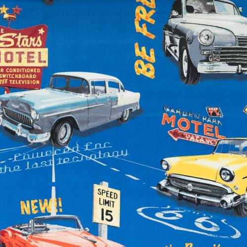 Toile polyester route 66 vintage bleu