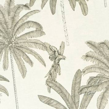 Toile polycoton aspect lin motif oiseau et plante