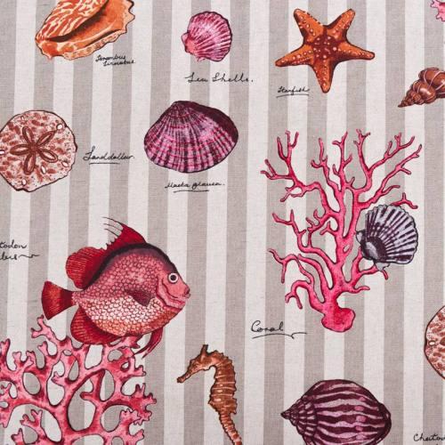 Toile polycoton aspect lin motif corail