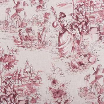Toile polycoton aspect lin motif toile de jouy rose