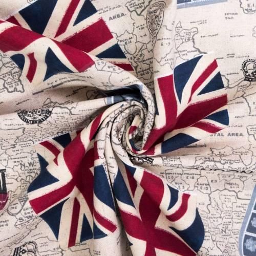 Toile polycoton motif UK carte et drapeau