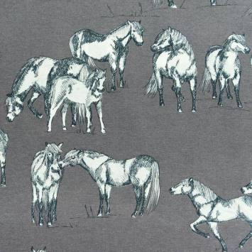 Toile polycoton grise motif cheval