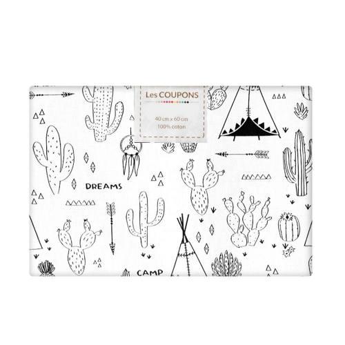 Coupon 40x60 cm coton à colorier motif cactus