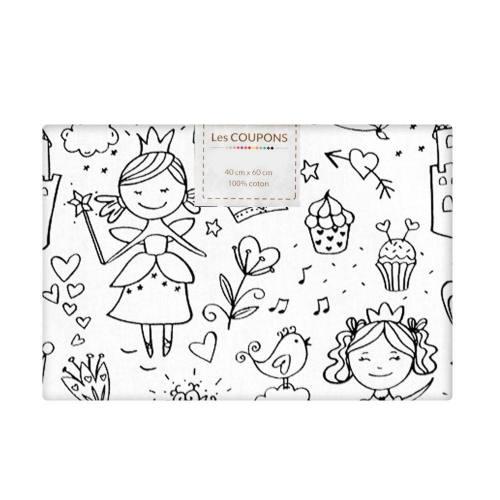 Coupon 40x60 cm coton à colorier motif princesse