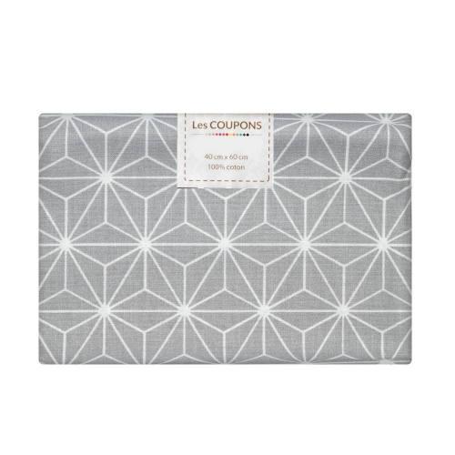 Coupon 40x60 cm coton gris perle motif asanoha