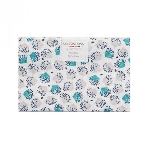 Coupon 40x60 cm coton blanc motif galix vert