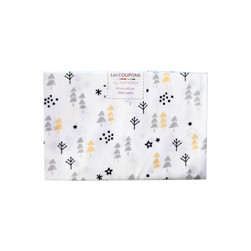 Coupon 40x60 cm Coton Noël blanc imprimé sapin gris et or pailleté