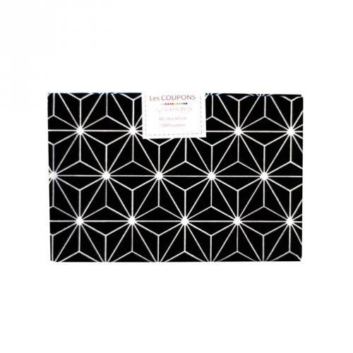 Coupon 40x60 cm coton noir motif asanoha