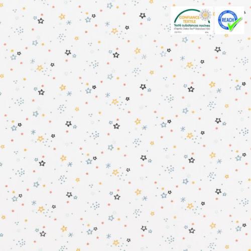 Coton blanc motif étoile ocre et bleue zenor