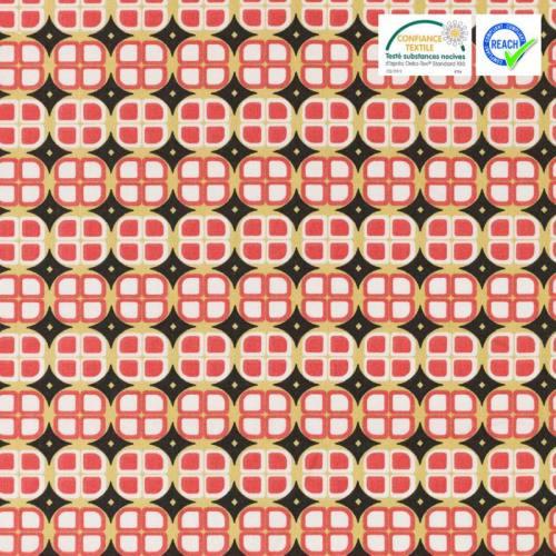 Coton noir motif gombo rouge vermillon
