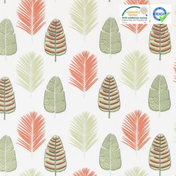 Coton écru motif feuille de palmier palmade
