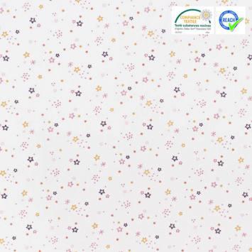 Coton blanc motif étoile rose et ocre zenor