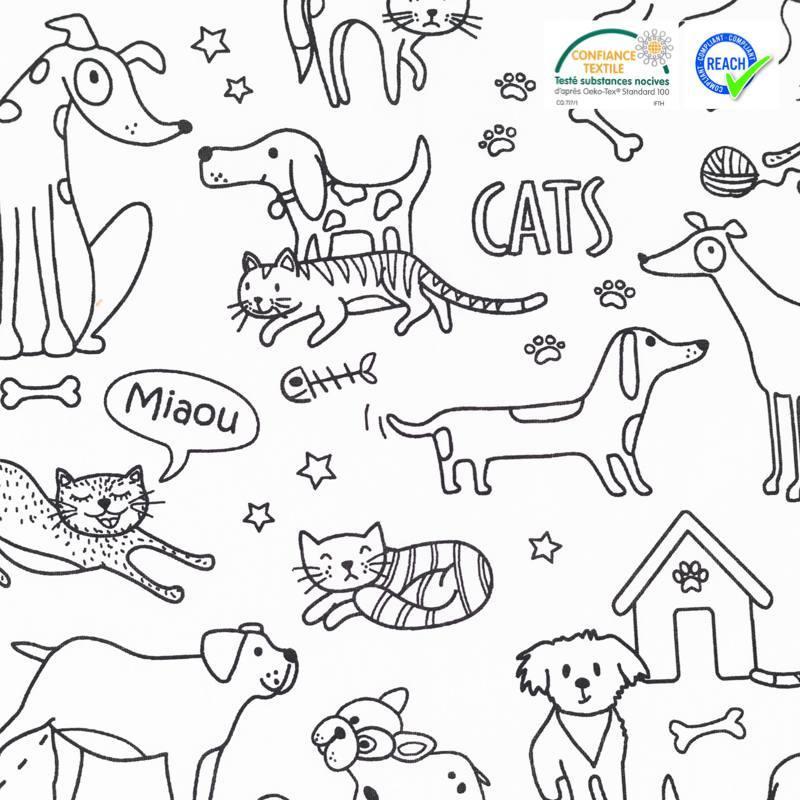 Coton à colorier motif chien et chat