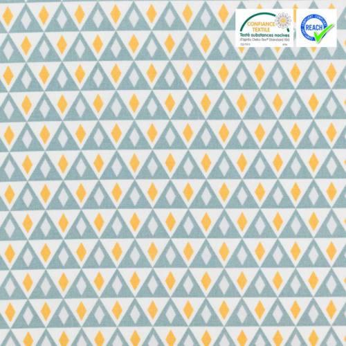 Coton blanc motif triangle bleu et ocre nelson