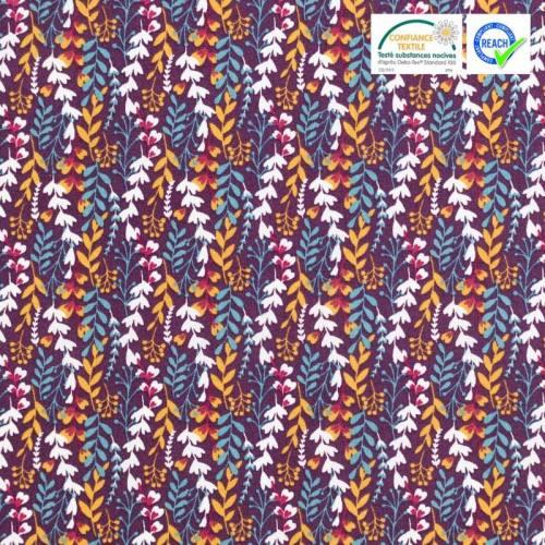 Coton prune motif feuillage feia