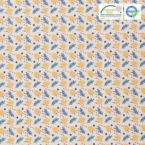Coton naturel motif jarko ocre