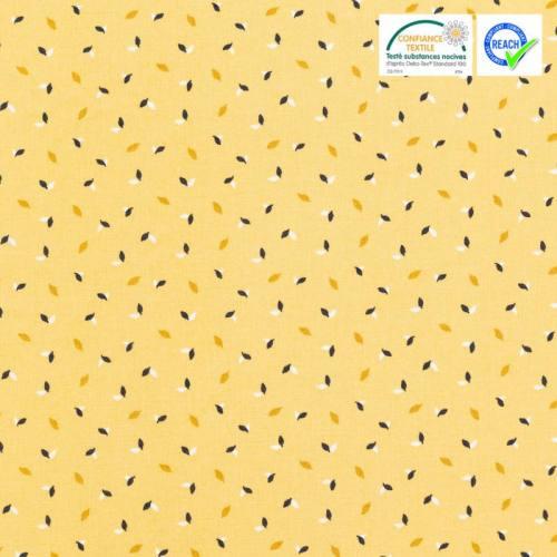 Coton jaune motif petite feuille salva