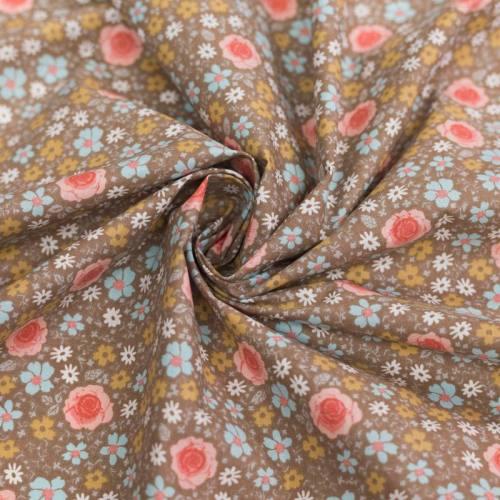 Coton noisette motif fleur anisley