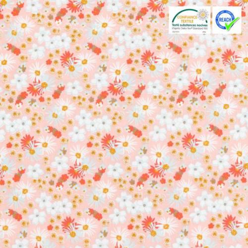 Coton rose motif fleur zinia