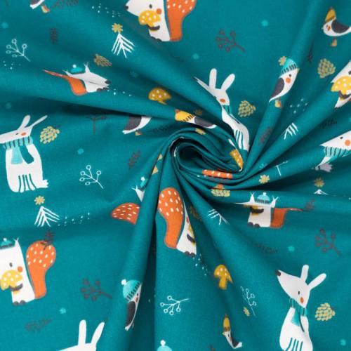 Coton bleu canard motif oiseau chien et écureuil woody