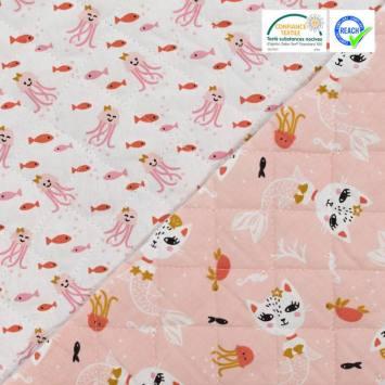 Tissu matelassé enfant réversible motif poulpi