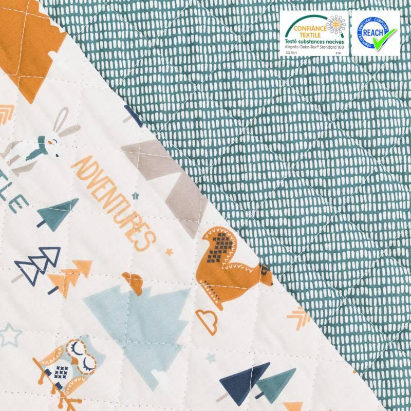 Tissu matelass enfant r versible motif tipi et renard tamias - Tissu matelasse pour bebe ...