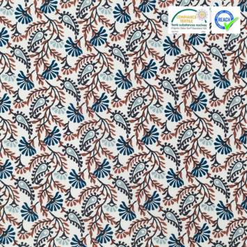 Coton blanc motif végétal guntur