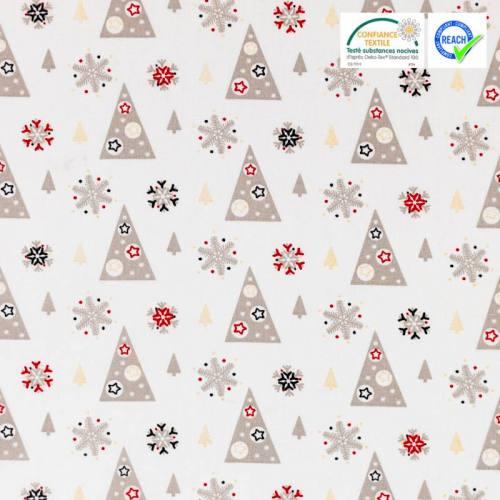 Coton Noël blanc motif sapin gris et doré adelgran