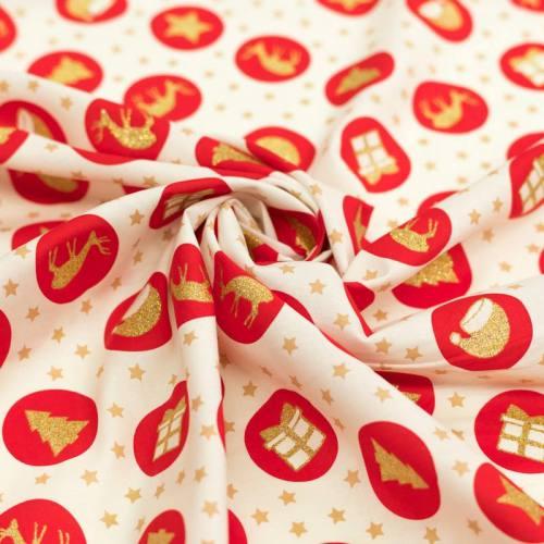 Coton de Noël ivoire motif symboles de Noël rouges et paillettes
