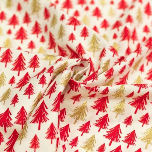 Coton de Noël ivoire sapin rouge et paillettes dorées