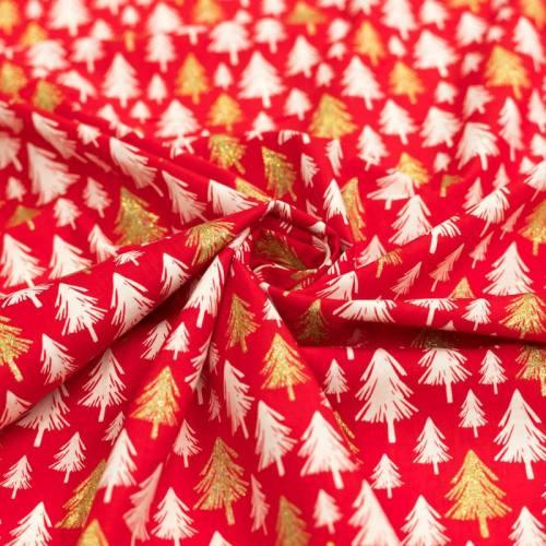 Coton de Noël rouge sapin ivoire et paillettes dorées