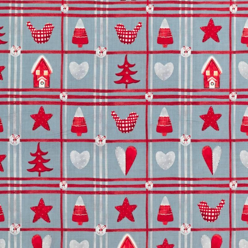Coton de Noël gris motif Noël rural