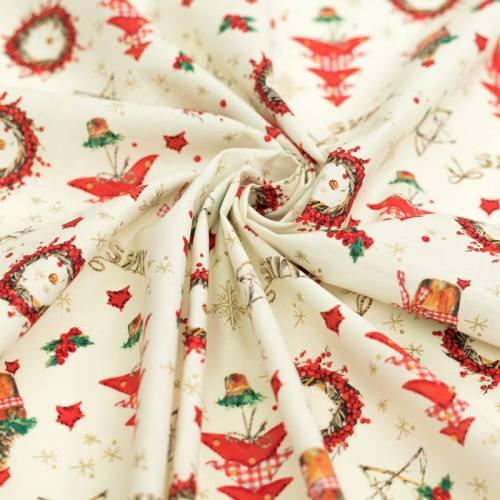Coton de Noël ivoire motif décoration de Noël