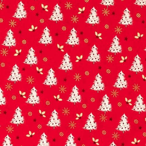Coton de Noël rouge motif sapin, étoile et houx doré