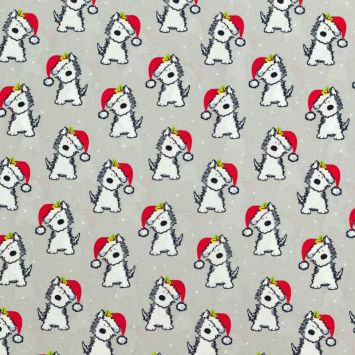 Coton de Noël gris motif chien et bonnet de Noël