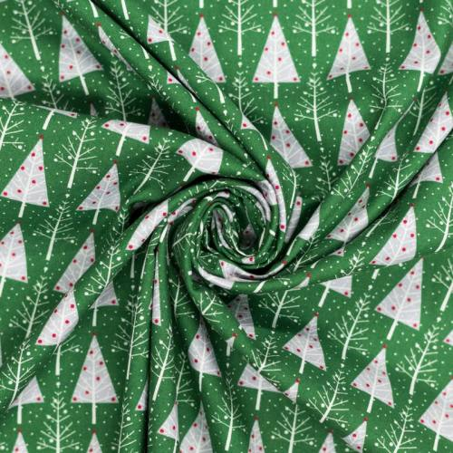 Popeline de coton de Noël vert motif sapin gris