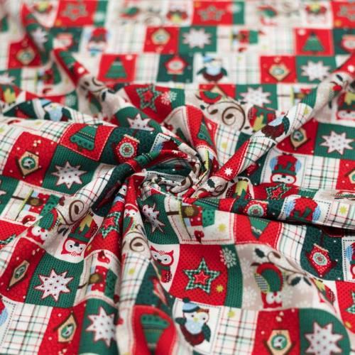Coton de Noël rouge et vert motif hibou à écharpe