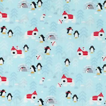 Coton de Noël bleu motif pingouin