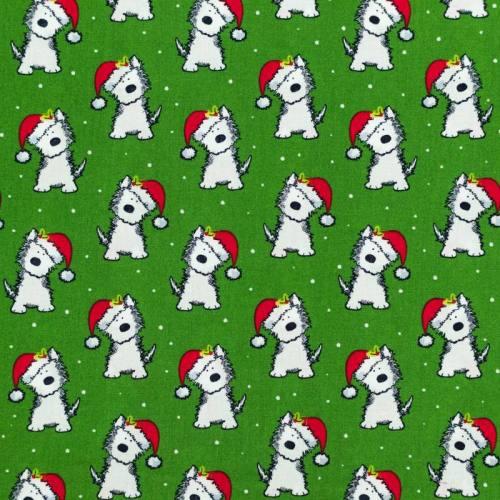 Coton de Noël vert motif chien et bonnet de Noël