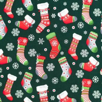 Coton de Noël vert motif chaussette de Noël rouge