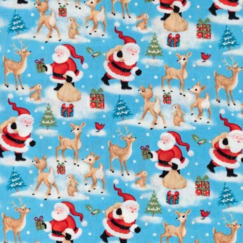 Coton de Noël bleu motif père Noël et faon
