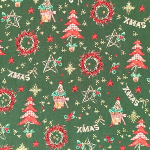 Coton de Noël vert motif décoration de Noël