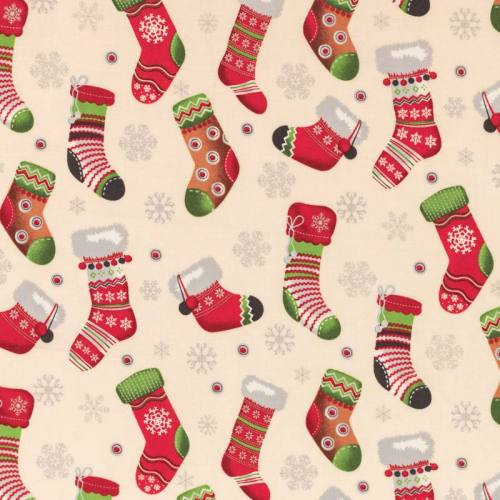 Coton de Noël coquille d'oeuf motif chaussette de Noël rouge