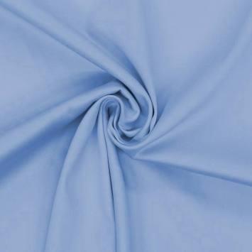 Coton satiné stretch bleu