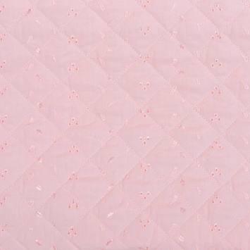Tissu matelassé rose borderie anglaise