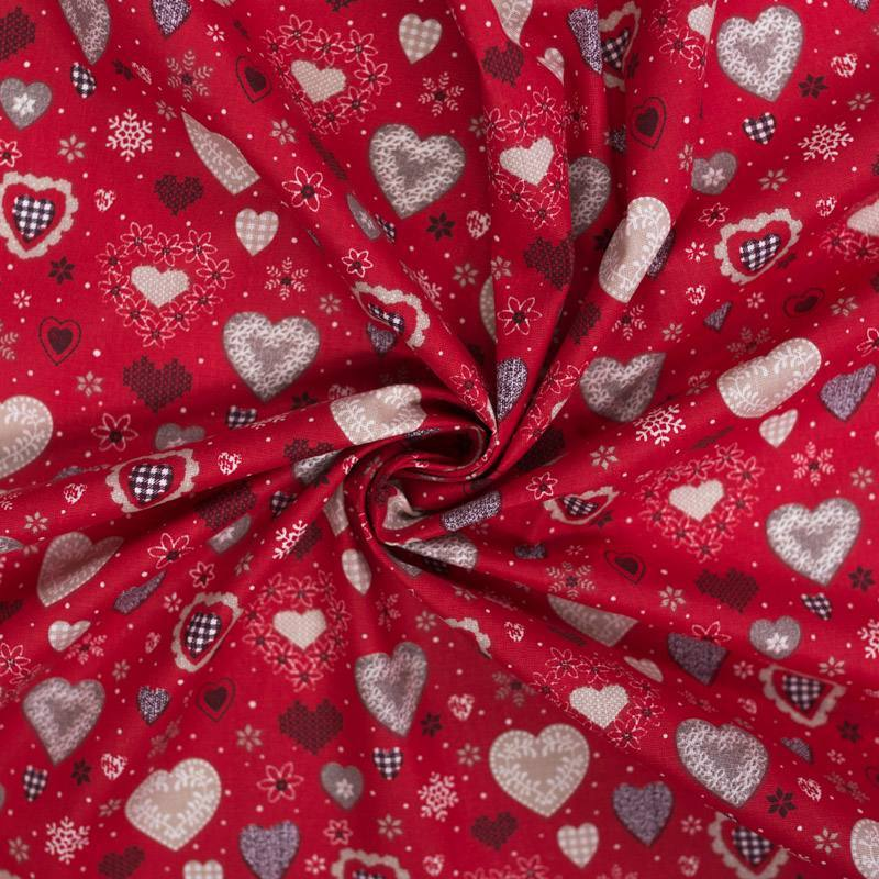 Coton cretonne rouge motif coeur style chalet