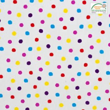 Coton cretonne blanc motif pois multicolores