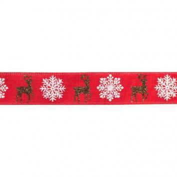 Ruban laitonné Noël cerfs 38mm rouge