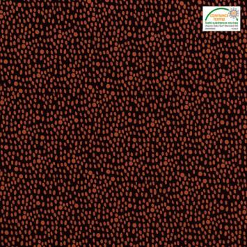 Popeline de coton marron motif grain de riz rouge brique