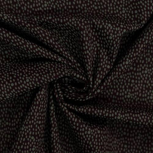Popeline de coton marron motif grain de riz vert olive